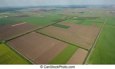 Aerial shot of multicolored agricultural field patches in late spring in Ukraine