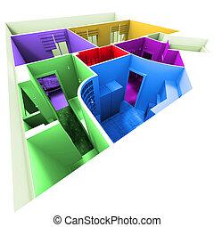 Aerial shot of multicolored apartment