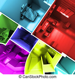 Aerial shot of multicolored roofless apartment - Aerial shot...