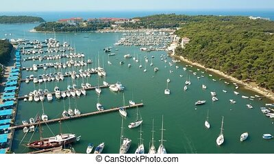 Aerial shot of multiple parked boats, motorboats and...