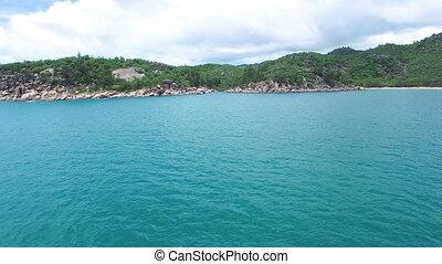 Aerial shot of ocean and island