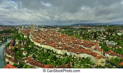 Aerial shot of Old City of Bern, Switzerland - Aerial shot...