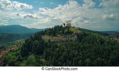 Aerial shot of old town Sinj in Croatia