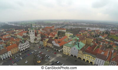 """Aerial shot of old town with beautiful architecture, European red roof buildings"""