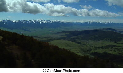 Aerial shot of Paradise Valley, Montana on blue-sky day