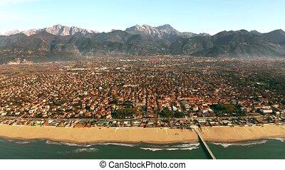 Aerial shot of picturesque Forte dei Marmi beachfront and...