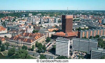 Aerial shot of Poznan cityscape, Poland - Aerial view of...