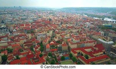 Aerial shot of Prague roofs, the Czech Republic - Aerial...