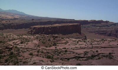 aerial shot of red rock desert