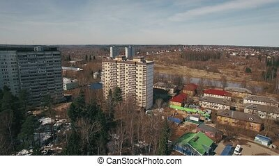 Aerial shot of residential area in suburbs, Russia - Flying...