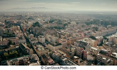 Aerial shot of residential houses in Rome centre, Italy