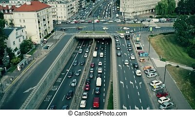 Aerial shot of rush hour traffic jam in the city. Warsaw,...