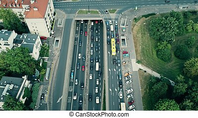 Aerial shot of rush hour traffic jam on major street