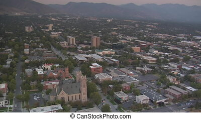aerial shot of Salt Lake City, sunset, and Cathedral