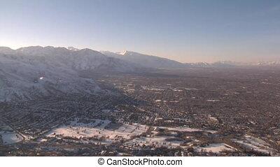 aerial shot of Salt Lake Valley in winter