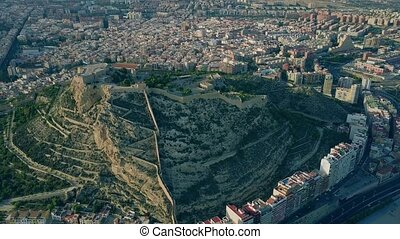 Aerial shot of Santa Barbara castle in Alicante