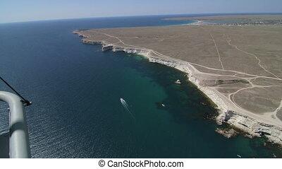 Aerial shot of seashore Tarhankut, Crimea. Canon EOS C100