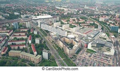 Aerial shot of Seevorstadt-West district in Dresden, Germany...