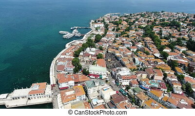 aerial shot of shore sea