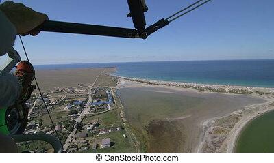 Aerial shot of shoreline