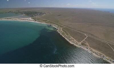 Aerial shot of shoreline Tarhankut, Crimea. Canon EOS C100
