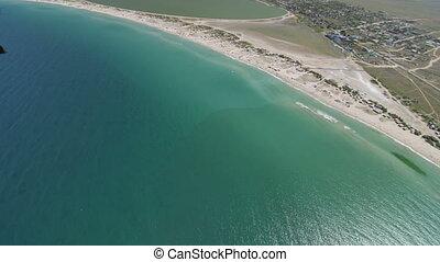 Aerial shot of shoreline Tarhankut, Crimea. Canon EOS C100,...
