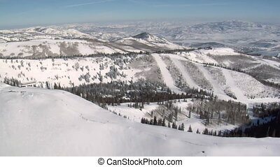aerial shot of ski area with snow