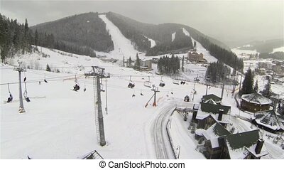 Aerial shot of ski elevator