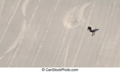aerial shot of skier carving