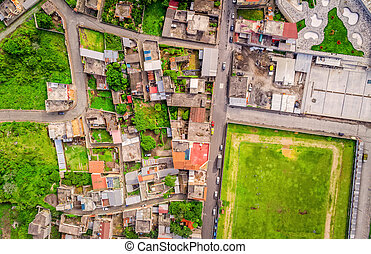 Aerial Shot Of Small City In The Andean Highlands, Ecuador