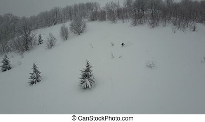 Aerial shot of Snowboarder descending among trees. Birds Eye...