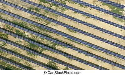 Aerial shot of solar panels - solar power plant.