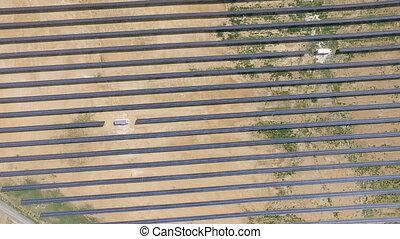 Aerial shot of solar panels - solar power plant.