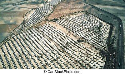 Aerial shot of solar power station panels