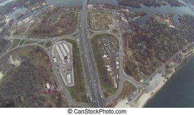 Aerial shot of Southern bridge over the Dnieper in Kiev