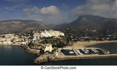 Aerial shot of Sperlonga, marina and ancient Torre Truglia ...