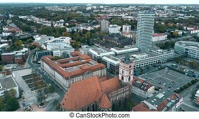 Aerial shot of St. Marienkirche church in Frankfurt on the...