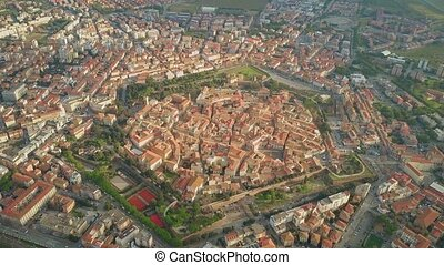 Aerial shot of star shaped city of Grosseto. Tuscany, Italy