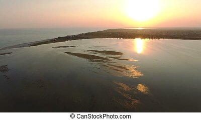 Aerial shot of the areas of bulrush and weeds on Dzharylhach island shoal
