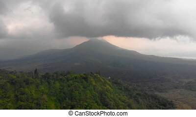 Aerial shot of the Batur volcano on the Bali island, Indonesia