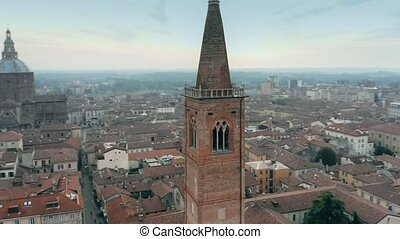 Aerial shot of the bell tower of Santa Maria del Carmine...