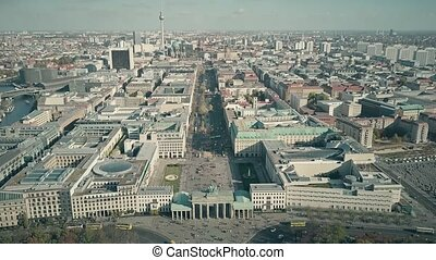 Aerial view of the Brandenburg Gate in Berlin