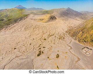 Aerial shot of the Bromo volcano and Batok volcano at the ...