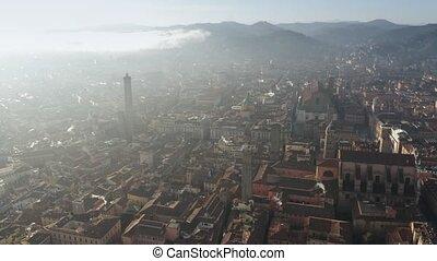 Aerial shot of the centre of Bologna, Italy