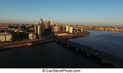 Aerial shot of the city embankment