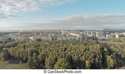 Aerial shot of the city from afar. Salt Mountain. Soligorsk. Belarus.