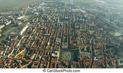 Aerial shot of the city of Alessandria, Italy