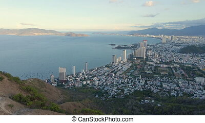 Aerial shot of the city of Nha Trang in southern Vietnam.