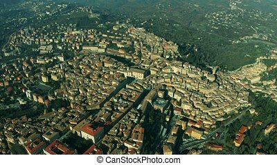 Aerial shot of the city of Perugia. Umbria, Italy