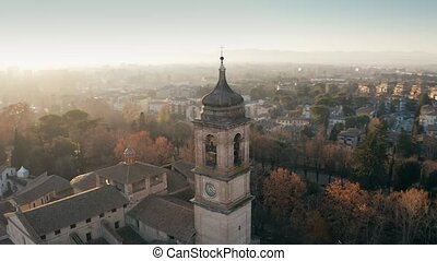 Aerial shot of the city of Terni Cathedral and cityscape. Umbria, Italy